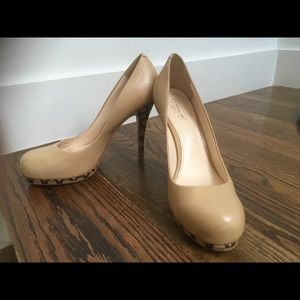 Nude leather pumps from Coach